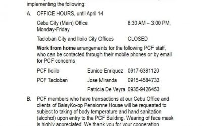 PCF Advisory: Adjusted Business Hours due to COVID-19