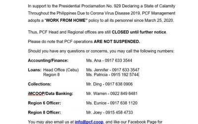 PCF OPERATIONS IS OPEN ONLINE